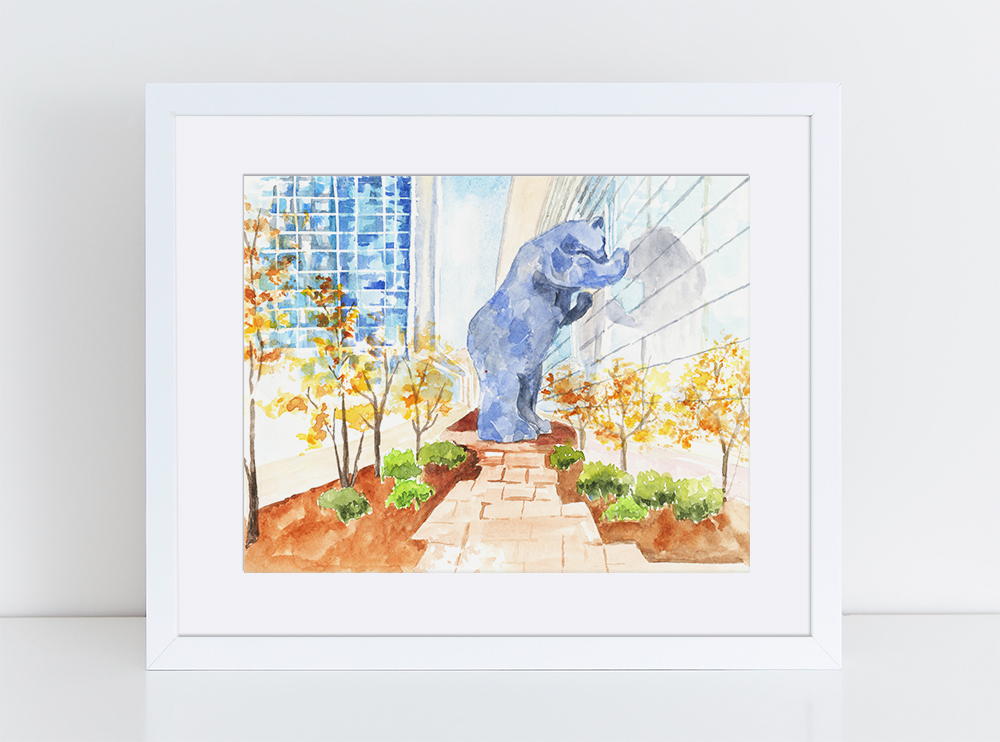 Blue Bear Denver Illustration